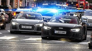 🚨 UNMARKED POLICE catches 2 RACING Audi R8s in London 👮