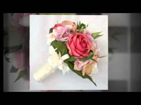 Silk Flower Bridal Wedding Bouquet with Lilie, Roses, Orchid