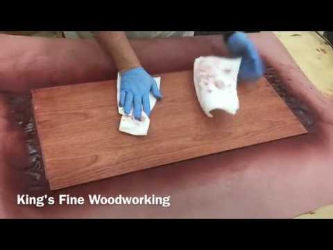 Antique Cherry Stain Application on Cherry Cabinet Door Panel