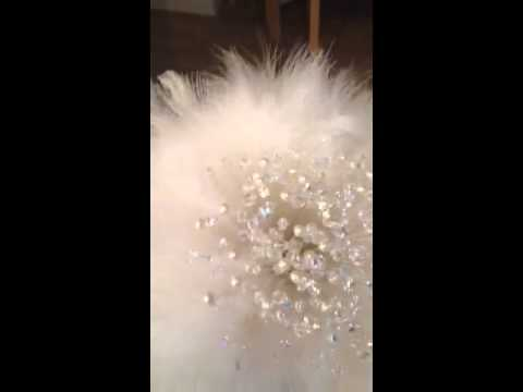 Swarovski crystal and feather bouquet