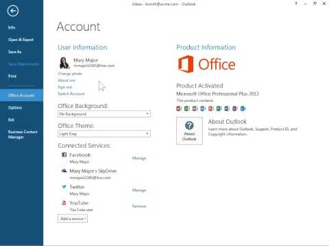 Outlook 2013 Edit Your Profile