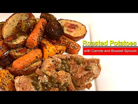How To Make Roasted Potatoes with Carrots, Brussel Sprouts and Dice Turkey Bacon