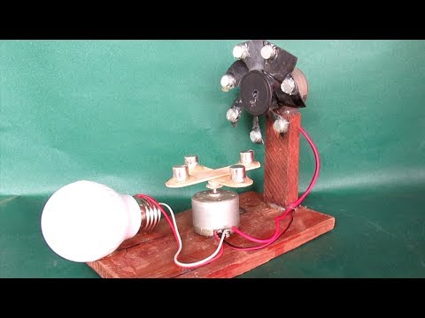 How to make free energy LED light 12V - DIY project free energy using small magnets & motor(Dynamo)