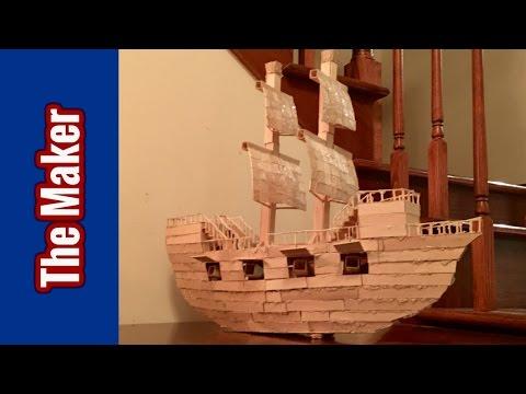 Popsicle Stick Model Of A Ship (HD)