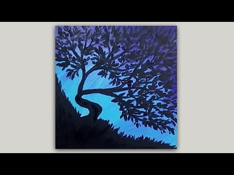 Leafy Tree Silhouette Acrylic Painting on Blue & Purple Background