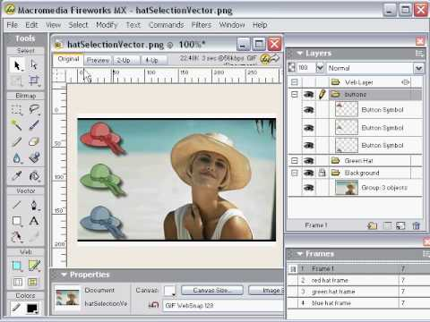 Adobe Fireworks Tutorial - Creating interactive rollover buttons using swap image pt2