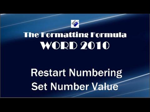 Word 2010   Restart Numbering and Set Number Value