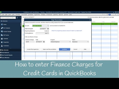 How to enter finance charges for Credit Cards Inside QuickBooks