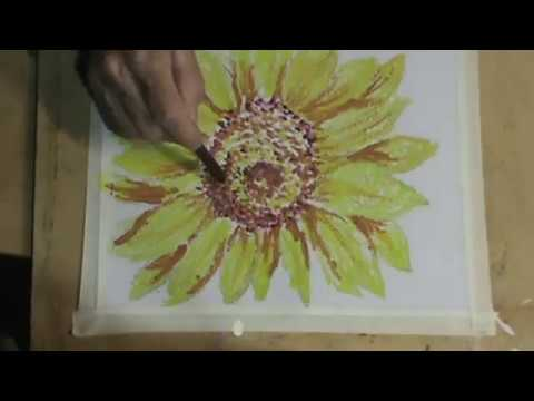 Speedy version Painting a Sunflower Part 1 using common crayons and heat