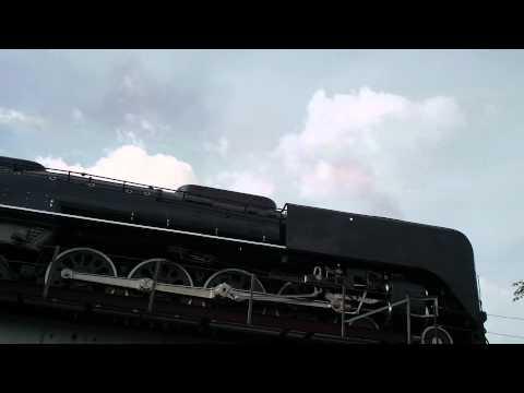 UP 844 Steam Engine on a little bridge