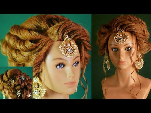 engagement bridal hairstyle india pakistan   bun hairstyle   (chandra prakash patel)
