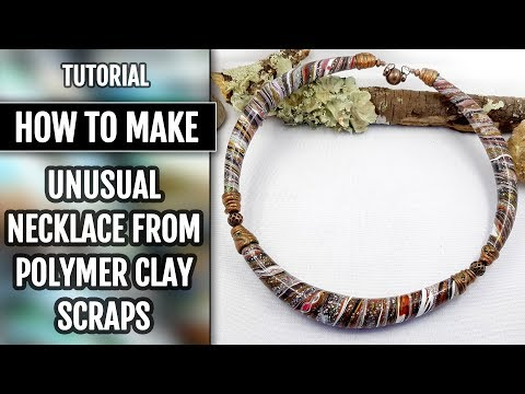 "DIY Unusual and Beautiful Necklace from Polymer Clay Scraps in ""Twisting&Squeezing"" Technique!"