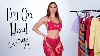 Carlotta's wildest try on haul! Crochet \u0026 Knit bikinis, mini skirts and chaps!