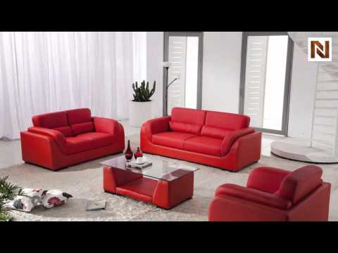 Red Bonded Leather Sofa Set With Coffee