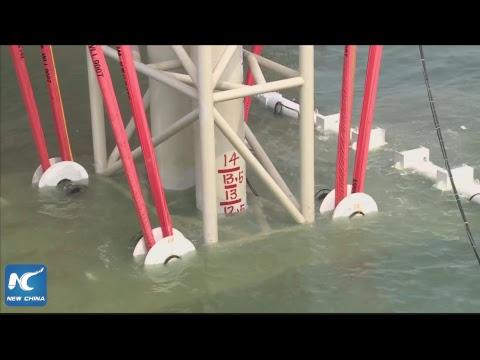 World's longest sea bridge: Underwater tunnel's final part installed
