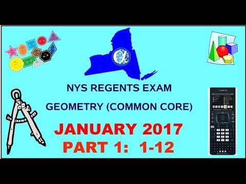 NYS Geometry [Common Core] January 2017 Regents Exam || Part 1 #'s 1-12 ANSWERS