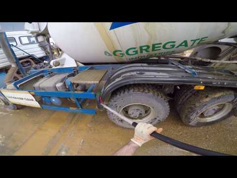 Cleaning The Concrete Mixer Truck - GoPro Hero 5 Black HD Footage