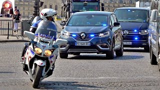 Police Motorcycle Escort Unmarked Cars in Paris - Sirens