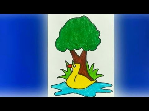 how to draw easy and beautiful scenery with duck and tree step by step| colouring pages for kids