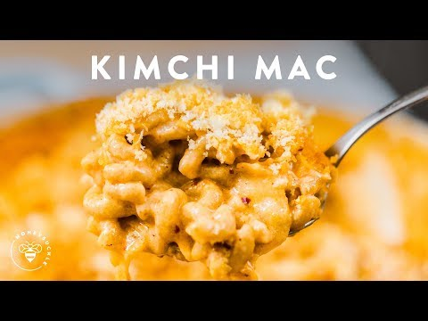 Gooey KIMCHI MAC & CHEESE 🍜🧀Delish Noodle Series