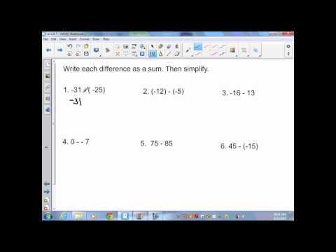 Pre Algebra sec1 6 Subtracting Integers