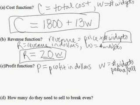 35.  Revenue, cost, profit problem