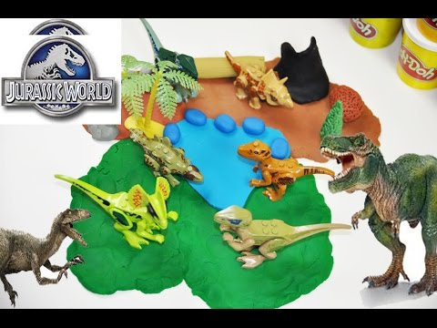 How to make a JURASSIC WORLD Dinosaurs Play Doh Playset Lego Dinosaurs Sounds Effects