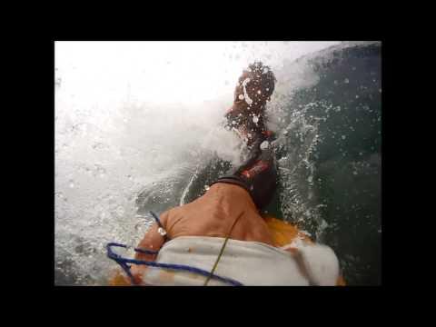 Bodysurfing Barrels with Homemade Handplane | Carlsbad, California