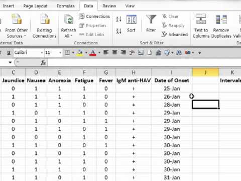 Creating an Epidemic Curve in Excel