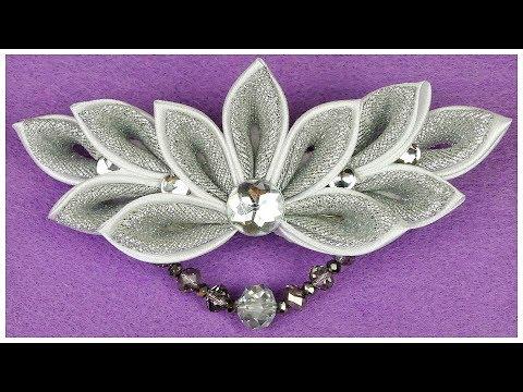 How to make Kanzashi Wedding Hair Clip I DIY Kanzashi flower I Ribbon flower tutorial