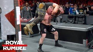 Brock Lesnar puts Braun Strowman through the announce table: Royal Rumble 2018 (WWE Network)