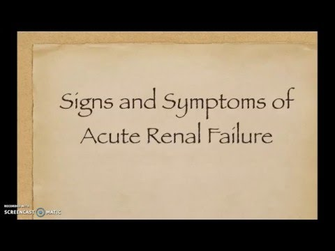 signs and symptoms of acute renal failure