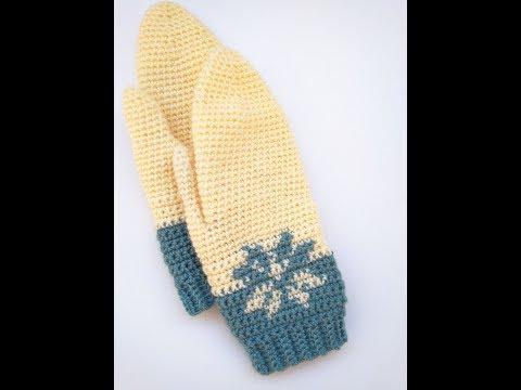 crochet snowflake mittens