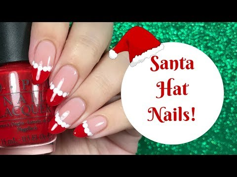 Santa Hat French Tip Nail Tutorial | Day 6 of my 12 days of Christmas!