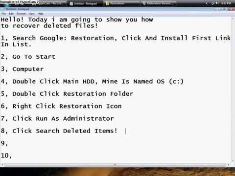 Restore Deleted Files(VISTA & WINDOWS 7)
