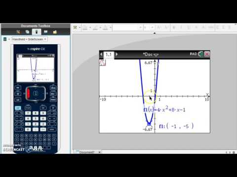 TI-Nspire - Finding the Axis of Symmetry/Vertex of Parabola