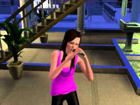 Sims 3 My Sim singing while playing Sims 3 Showtime