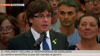 El primer discurs de Puigdemont després de declarar la independència