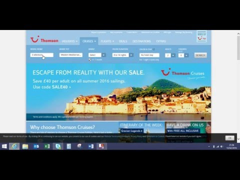 Thomson Holidays website mis-sold cruise issue when booked more than the basic options