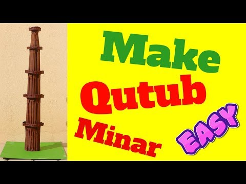 how to make qutub minar model making step by step easy by paper cardboard for school project easily