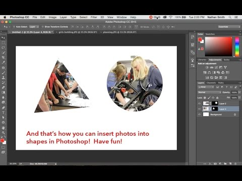 Photoshop:  How to insert photos or images into shapes.