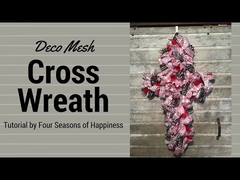 Simple deco mesh cross wreath, how to make a deco mesh cross, deco mesh cross wreath tutorial