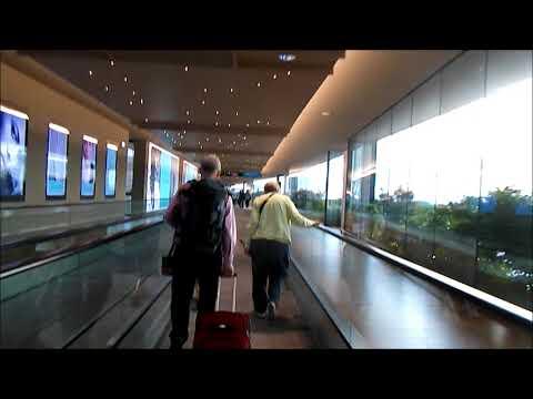 (HD) Very long travelator way at Venice Marco Polo airport - Schindler travelators