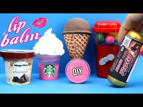 DIY Lip Balm {Easy}! 5 Mini Candy, Liquid Starbucks, Bubblegum & Ice Cream Lip   Gloss DIYs!