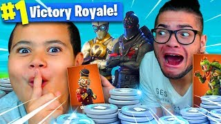 9 year old kid plays Fortnite for 50,000 V BUCKS!!! *NEW* SKIN IS INSANE! 9 YEAR OLD PLAYS SOLOS!