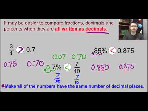 Comparing and Ordering Decimals, Fractions and Percents   video