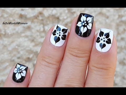 BLACK & WHITE NAILS: Dry Marble Flower Nail Art