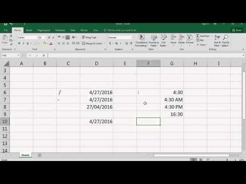 Microsoft Excel 2016 Basic Course - Entering Date and Time in Excel - Video No. 12