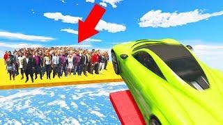 FAST CARS vs. 1000 PEOPLE! (GTA 5 Funny Moments)