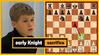 Unbelievable! 11 Year Old Carlsen Sacrifices His Knight On Move 5